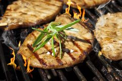 Burgers, Beef and Sausages on a grill with flames royalty free stock photos