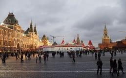 Burgers bezocht de Markt van het Nieuwjaar in Rood Vierkant Royalty-vrije Stock Fotografie