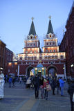 Burgers bezocht de Markt van het Nieuwjaar in Rood Vierkant Stock Foto's