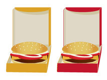 Burgers in boxes. Two boxes in yellow and red with burgers inside isolated on white stock illustration