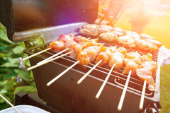 Burgers and chicken kebabs on hot barbecue outdoor in the evening sun. Sizzling burgers and chicken kebabs on hot barbecue outdoor in the evening sun Royalty Free Stock Images