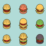 Burgers color outline isometric icons Royalty Free Stock Photo