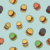 Burgers color outline isometric pattern Stock Images