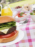 Burgers Cooking On Barbeque Grill Royalty Free Stock Image