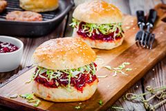 Burgers with a cutlet of turkey, cranberry sauce and salad Stock Photography