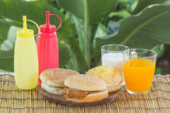 Burgers with Drink Stock Image