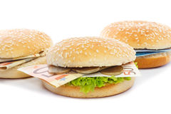 Burgers with Euro toppings and lettuce Royalty Free Stock Image