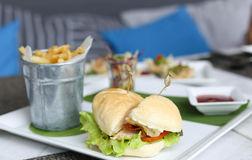 Burgers with french fried or chips Stock Image