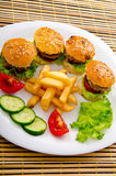 Burgers with french fries Royalty Free Stock Photo