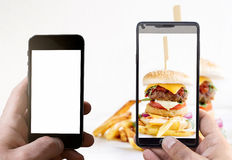 Burgers and French fries Stock Photo