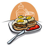 Burgers with fried eggs Royalty Free Stock Images