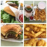 Burgers, fries & shakes. Food choices restaurant Stock Image