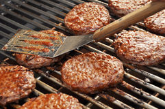 Burgers on the grill 2 Royalty Free Stock Photo