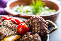 Burgers. Grill burgers. Minced burgers. Roasted burgers with grilled vegetable and herb decoration. Minced meat grilled in a hotel Stock Images
