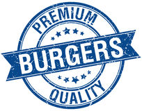 Burgers grunge retro blue isolated stamp Royalty Free Stock Images