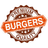 Burgers grungy stamp Royalty Free Stock Photos