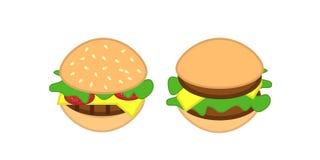 Burgers icon. 2 tasty burger icons isolated on white Stock Photo