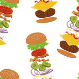 Burgers and ingredients for cheeseburger seamless background. Royalty Free Stock Images