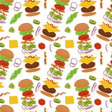 Burgers and ingredients for cheeseburger seamless background. Royalty Free Stock Photos