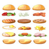 Burgers ingredients. Vector fastfood set in cartoon style Royalty Free Stock Image