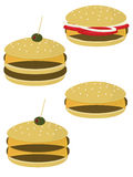 Burgers isolated. Burgers and cheeseburgers isolated on a white background royalty free illustration
