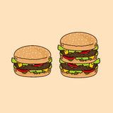 Burgers isolated Royalty Free Stock Photography