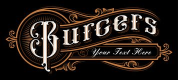 Burgers Lettering design. Vintage label of catering on dark background. All objects, text are on the separate groups royalty free illustration