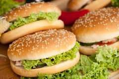 Burgers on lettuce. Delicious food. Street food. royalty free stock photography