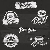 Burgers logo set in vintage style. Retro hand Royalty Free Stock Images