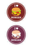 Juicy logo for restaurants and burger lovers. Logo for restaurant, Fast Food, Home made Kitchen. Vector logo. Round food logo. Burger icon. Food icons. Logo Royalty Free Stock Photography