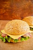 Burgers with meat and cheese royalty free stock photography