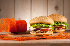 Burgers with meat turkey, cheese and vegetables Stock Photography