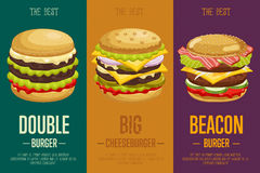 Burgers menu template. Royalty Free Stock Images