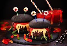 Burgers monsters for Halloween celebration. Food stock photography