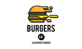 Burgers Online Buying Junk Food Nourishment Concept.  Royalty Free Stock Images
