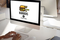 Burgers Online Buying Junk Food Nourishment Concept Royalty Free Stock Photography