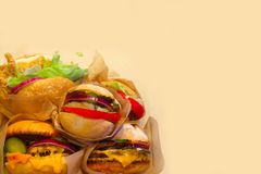 Burgers on paper Stock Image