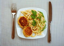 Burgers, pasta and parsley Royalty Free Stock Image