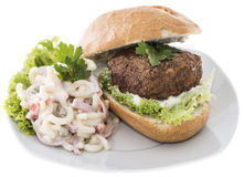 Burgers with Pasta Salad (on white) Stock Images
