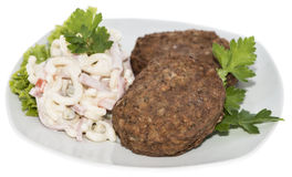 Burgers with Pasta Salad (on white) Stock Photo