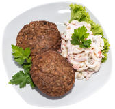 Burgers with Pasta Salad (on white) Stock Photos