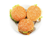 Burgers on a plate Stock Photo