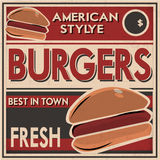 Burgers Retro Poster. Retro Style Poster with Burgers picture in old retro style.Can be used in Burger sops royalty free illustration