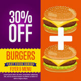 Burgers sale banner. Royalty Free Stock Photo