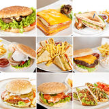 Burgers and sandwiches collage Royalty Free Stock Image
