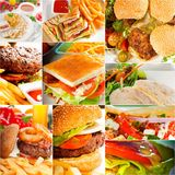 14186171 burgers and sandwiches collection on a collage royalty free stock images