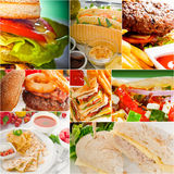 Burgers and sandwiches collection on a collage Royalty Free Stock Image