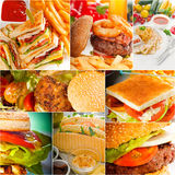 Burgers and sandwiches collection on a collage royalty free stock photo