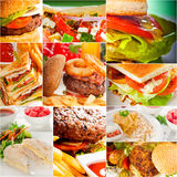 Burgers and sandwiches collection on a collage Royalty Free Stock Photography