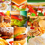 Burgers and sandwiches collection on a collage Royalty Free Stock Images